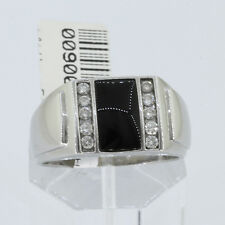 GOD FATHER RING: Men's Solid 14k White Gold Onyx & Round Brilliant Diamond Ring