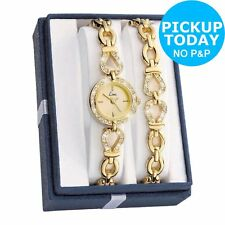 Ladies Womens Gold Plated Stone Analogue Watch and Matching Bracelet Set
