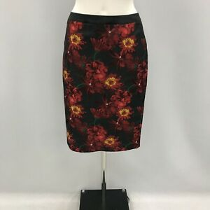 New Clements Ribeiro Skirt Size UK 10 Straight Pencil Black Multi Floral 344365
