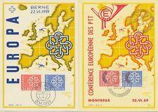 L'Europe CEPT 1959-Suisse 679-80 et PTT 681-82 au maximum cartes spécial cartes