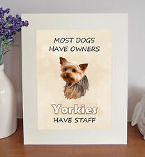 """Yorkshire Terrier 10""""x8"""" Free Standing """"Yorkies Have Staff"""" Picture Fun Gift"""