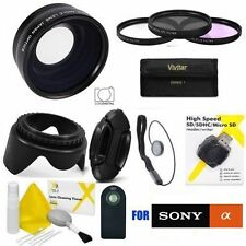FISHEYE MACRO LENS +HD FILTERS + LENS HOOD + REMOTE FOR SONY ALPHA A5100 A 6500