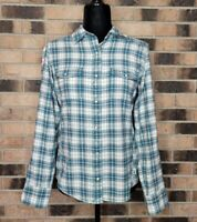 The North Face Womens Medium Blue Flannel Shirt Plaid Pearlsnap Button Up Front