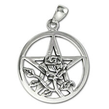 Sterling Silver Rose Pentacle - Wiccan Wicca Pentagram Pagan Pendant Jewelry