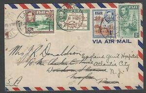 Fiji KGVI King George VI 4v incl 2/6 on 1945 airmail cover LAUTOKIA to USA