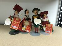 LENCI Vintage Felt Dolls made in Italy No Box Torino  Roma Lot Of 4 Dolls