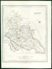 1845 IRELAND - Original Antique Map of CARLOW by Lewis with outline colour