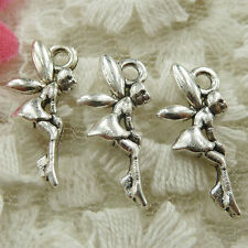 #4670 Free Ship 177 pcs Antique silver fairy charms 19x8mm