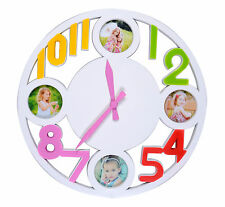 Wall Clock Photo Picture Round Home Time Display Kitchen Decor - White