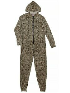Emme Jordan Juniors Beige Leopard Hooded One-Piece Pajamas