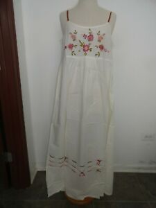 New April Cornell Nighties Sleepwear Dress Ivory Floral L Large NWT Vintage Cute