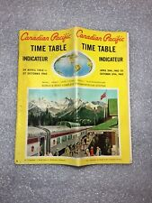 1962 Canadian Pacific Railway Time Table Schedule Vintage