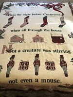 Vintage Twas The Night Before Christmas Tapestry Throw Blanket. Ivory Red Green