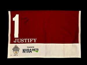 Justify Signed Mike Smith Bob Baffert Belmont Stakes Saddle Cloth Horse Racing