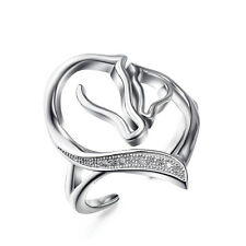 Solid 925 Sterling Silver Adjustable Mom Child Horse Head Love Heart Open Rings