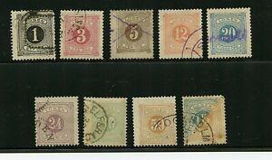 Sweden #J12//J22 (SW351) Postage Dues Perf 13, 1877-1886, U,FFVF, CV$94.00