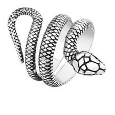 Men's Vintage Silver Stainless Steel Snake Jewelry Charm Punk Adjustable Ring
