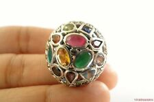 Multi-Stone Emerald Ruby Sapphire Topaz Marcasite Sterling Silver Ring 6 1/4