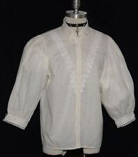 """VICTORIAN LACE Shirt Blouse BUTTON FRONT German ELEGANT Dress Dirndl B43"""" M L"""