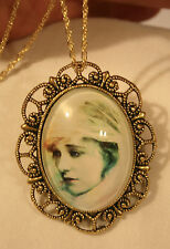 Scalloped Rim Antiqued Gold Sepia Colored Veiled Lady Pendant Necklace Brooch