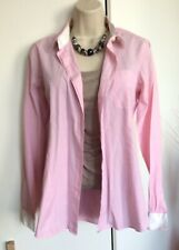 Savile Row Woman Pink White Collared Cotton Shirt Blouse Size 14