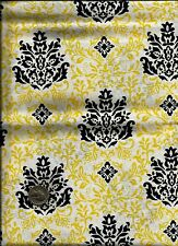 Unique Floral Print black & yellow on white Fabric by Timeless Treasures