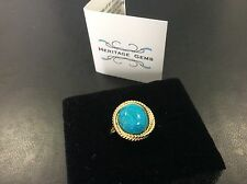 "Heritage Gems Imperial Turquoise Vermeil ""Rope"" Ring Size 9"