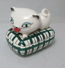 HOLT HOWARD COZY KITTEN TAPE MEASURE & PIN TRINKET BOX;  c1958