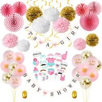 64PCS/Set Baby Shower Tissue Paper Pom Poms Banner Balloon Decoration for a Girl