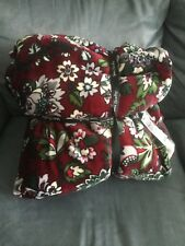 "Vera Bradley Gray Cozy Life Throw Blanket 72"" X 50"" Bordeaux Blooms - New"