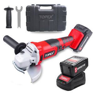 TOPEX 20V Max 125mm Cordless Angle Grinder 3.0Ah w/ Battery Fast Charger