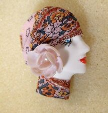 LADY HEAD FACE Porcelain-Look Resin Brooch Pin Flapper shell flower Spring pink