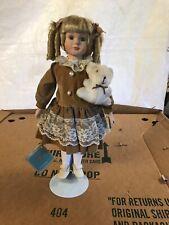 porcelain dolls collectible blonde curly hair, teddy bear, Helen doll