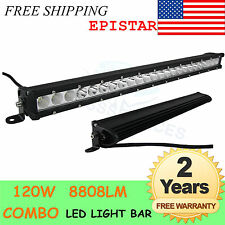 25in 120W LED Work Light Bar Offroad Tractor ATV SUV Fog Light Combo Single Row
