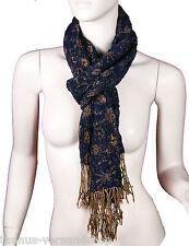 Schal Mit Blumen Muster Dunkelblau Blau Gold Mit Fransen NEU