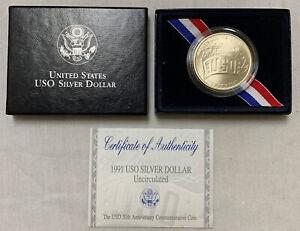 1991 $1 USO SILVER COMMEMORATIVE - UNCIRCULATED W/ BOX & CERT