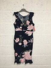 BNWT AX Paris Floral Bodycon Dress - Occasion Wedding Party Navy Pink - UK 14
