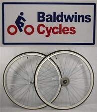 "27"" x 1 1/4 PAIR Bike Wheels + Premium White Wall Tyre's & 5 Speed Freewheel"