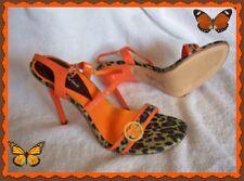 NEW Michael Antonio Orange Leopard Shoes 8 Women High Heel Stiletto Fashion
