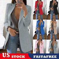 US Women Slim Casual Blazer Jacket Top Outwear OL Jacket Career Formal Long Coat