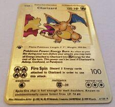 Pokemon Charizard 4/130 1st Edition Base Set Shadowless Gold Metal Card