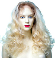 Remi Remy Full Lace Wig Indian Human Hair Blonde Mix Body Wave Long T-Color