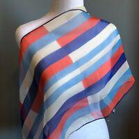 "Vera Neumann 46"" Oblong Red White Blue Sheer Scarf Silk Blend Made in Japan"