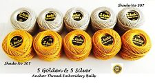 ANCHOR Pearl Cotton sewing cross stitch thread ball Silver & Golden