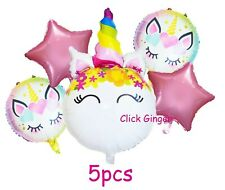 Unicorn Face Gradiant Rainbow Foil Balloons Set (5pcs) Pink Star Helium Balloon