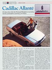 1987 Cadillac Allante - Original Road Test Car Print Article J303