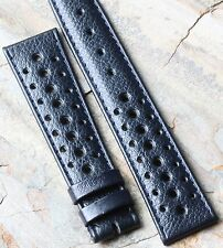 Heuer Camaro vintage blue grain leather 19mm chronograph 1960s/70s rally strap