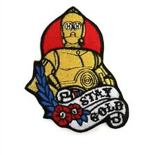 "C-3PO STAY GOLD IRON ON PATCH 3.25"" Embroidered Applique Star Wars Tattoo C3PO"