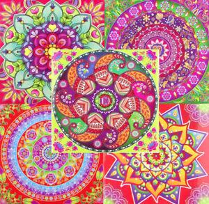 Viereck Aufkleber Mandala Indien Sticker Hippie Goa 9 cm x 9 cm