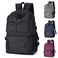 Women Men USB Charge Shoulder Canvas Backpack School Travel Bag Laptop Rucksack